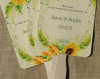 Personalized Wedding Fans  -  Sunflower Wedding  -  Wedding Fans - Hand Fans