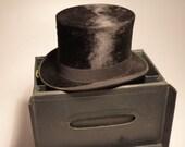 Antique Beaver fur Top Hat with case