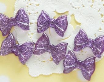 6 pcs Clear Glitter Bow Cabochon (18mm23mm) Purple BW203