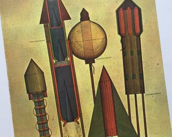 Rockets Red Glare Vintage Outer Space Original Frame Worthy Book Page