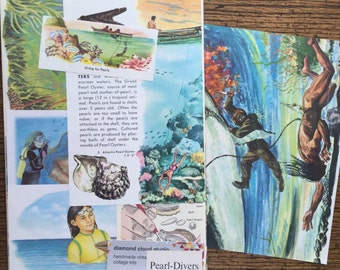 Pearl Diving in the South Pacific Vintage Ocean Collage, Scrapbook and Planner Kit Number 2052