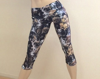 Hot Yoga Fitness Capri Pants Puppies Fold Over Waist/High Waisted SXYfitness Brand  Item #1229