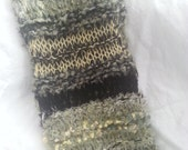 Green yellow black soft hand knitted infinity scarf neck warmer