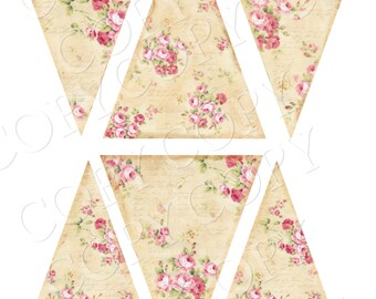 Instant Download  - Cottage Rose Banner - Bunting - Shabby Banner - Printable - Digital - High Quality Images