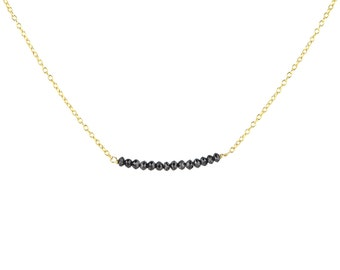 Black Rustic Diamond Bead Bar Necklace on Solid Gold Chain 2 cm Length
