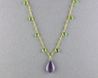 Amethyst and Peridot Gemstone Necklace