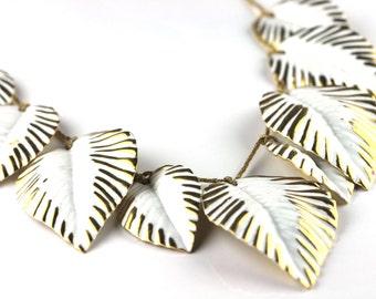 Vintage Napier White Gold Leaf Collar Necklace