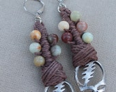Grateful Dead Stealie Wrapped Hemp Macrame and Jasper Earrings - Natural Hippie Boho