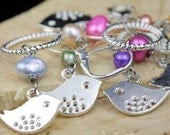 Silver Birdie Stitch Markers Set of 8 Slip on or Clip on Markers with Freshwater Pearls