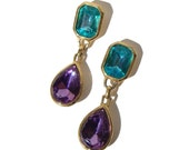 Vintage Trifari Earrings Aquamarine & Amethyst Crystal Drops