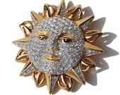 Vintage Swarovski Sun Face Brooch Crystal Rhinestone Novelty Pin – Swan Logo