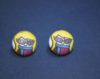 Luna Lovegood Button Earrings - Harry Potter Doodle - Post Fabric Covered Studs