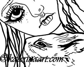 INSTANT DOWNLOAD Digi Stamps Big Eye Head Dolls  Bunny Girl Digi  By Katerina Art