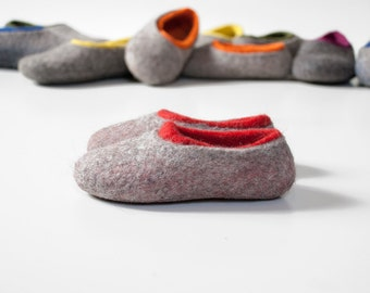 Little Kid Wool Slippers Gray Red felted wool slippers for children