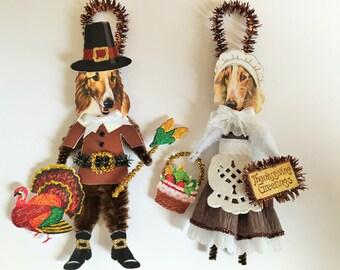 Borzoi THANKSGIVING PILGRIM ornaments Dog ornaments vintage style chenille ORNAMENTS set of 2