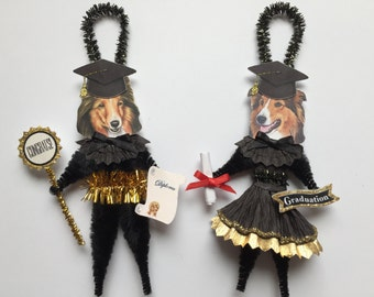 Shetland Sheepdog GRADUATION ornaments graduate DOG ornaments vintage style chenille ORNAMENTS set of 2