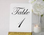 Gold Glitter Table Number-Gold Glitter Table Number Holder (5inch)- Set of 10