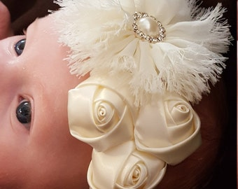 Ivory Chiffon Flower and Satin Roses Baby Infant Toddler Girl Soft Elastic Headband for Weddings, Pageants, Formals
