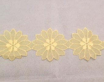 Vintage Yellow Flower Applique Trim -By The Yard-