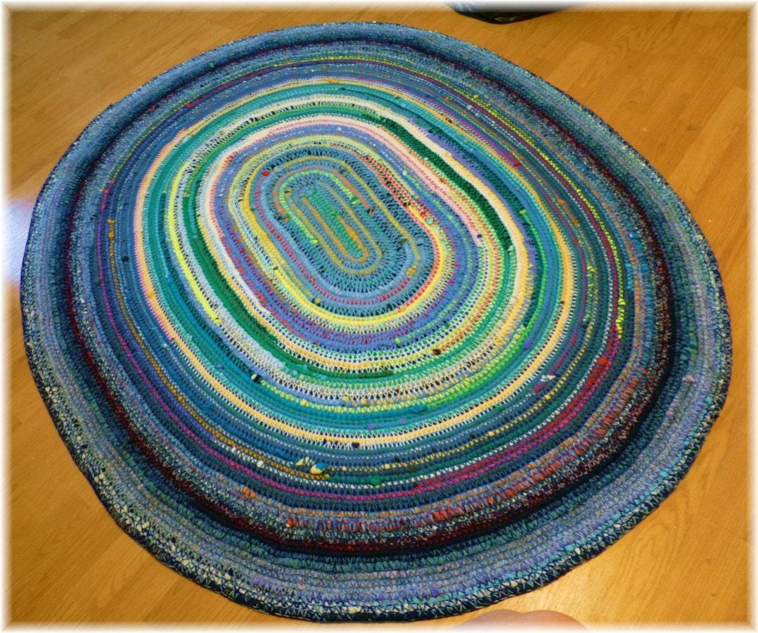 Oval Rug Multi Colored Rustic Look Shabby Large Handmade