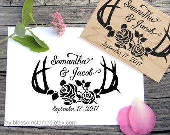 Antler Save the Date Wedding Rubber Stamp // Personalized and Handmade by Blossom Stamps