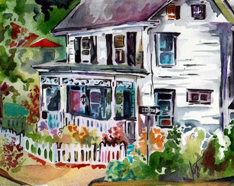 House Portrait - Original Watercolor and Ink Painting by Jen Tracy - Lovely Home Decor - Plein Air Painting