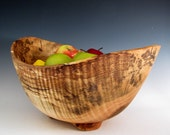 Curly Maple Wood Turned Fruit or Salad Bowl - Functional Wood Turned Bowl - Mother's Day - Wedding Gift - Artistic Wood Bowl