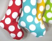 Christmas Stocking - Modern Polka Dots - Red White -  Boy Girl Family - Gift - Decoration - Initial Name