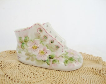 vintage ceramic baby shoe hand painted china pink roses