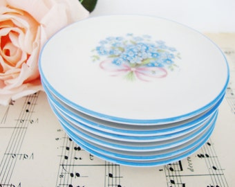 vintage coasters forget me not flower blue and white schumann germany