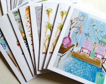 Chinoiserie Note Cards, Interiors, Chairs, Modern, Sketches and Paintings of Interiors, Furniture, Faux Bamboo Chair, Set With Envelopes