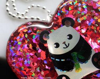 OOAK Big Panda Necklace, Statement Resin Glitter Heart Rose Pink Pendant, Modern Fashion Unusual Jewelry, Resin Pendant, Glitter Jewellery