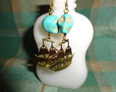 FREE SHIP, Turquoise SKULL, hand made pierced earrings 14K gold plate Pirate ship dangles,Howlite