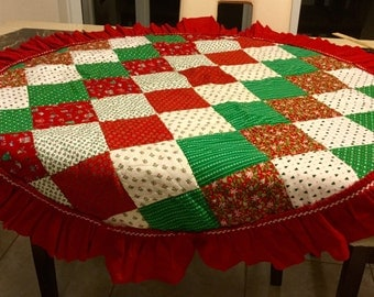 Christmas Tree Skirt Patchwork Table Covering Decor Size 49 nch diameter