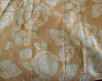 Cotton Gold  and White Floral Print, 45 inches wide - by the yard, Washed