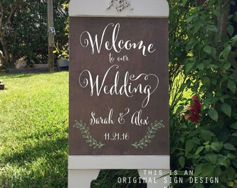 Custom Wedding Signs | WELCOME WEDDING SIGN |  Bride and Groom Signs | A-Frame Signs | Sandwich Board | Self Standing | 37 x 16