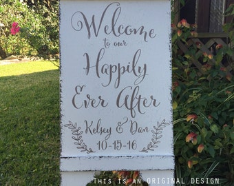 Wedding Signs, Welcome to our Happily Ever After, Bride and Groom Signs, A Frame Signs, Sandwich Board, Self Standing, 37 x 16