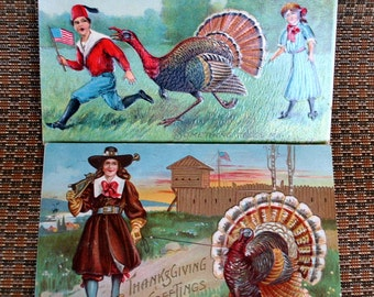 Pair of Vintage Turkey Postcards - Thanksgiving Greetings - Thanksgiving Day - Antique Cards - Pilgrim - American Flag - USA