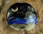 Lampwork Seascape Bead, Moon and Stars, #F550 by CC Design
