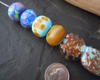 Mixed Light Blues.  Handmade Lampwork Glass Bead Set. Jewelry Supply. LWS-72