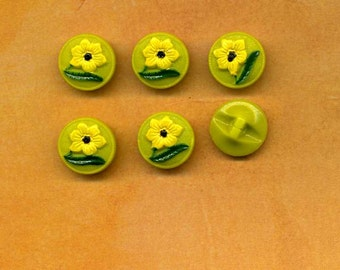 Set Of Six Vintage Glass Buttons With Little Yellow Flowers