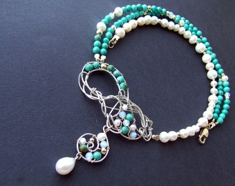 Blue Lace Necklace Pearls Necklace Turquoise  Necklace Sterling Silver Necklace 45% Discount