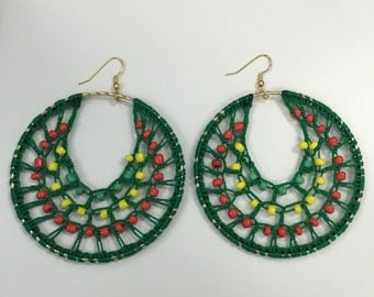 "2"" Jamaican Hoop Beaded Earrings"