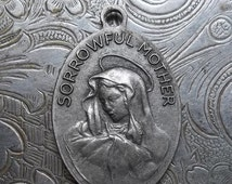 CLEARANCE Saint Peregrine Italian Silver Catholic Medal Patron Saint Of Those Suffering From Cancer, With Mater Dolorosa Sorrowful Mother Ma