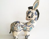 Mid century mod style donkey statuette with garden decor ceramic miniature