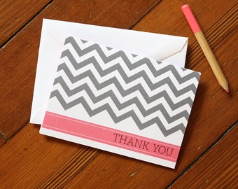 SALE! Chevron Thank You Note 10-Pack: Pink & Gray
