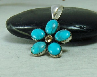 American Turquoise Flower Pendant with Citrine Turquoise Necklace