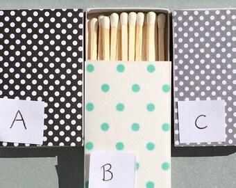 10 Matchbox Wedding Favors Polka Dot green grey black Antiqued Vintage Personalized Custom Sparkler Perfect Match Cigar Bar Art Deco Sparks
