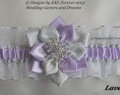 Christmas Rhinestone Snowflake Wedding Garter Lavender White and Silver Garter