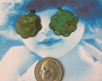 Verdigris Patina Brass  Retro Stamping Tags Drops 941VER x2